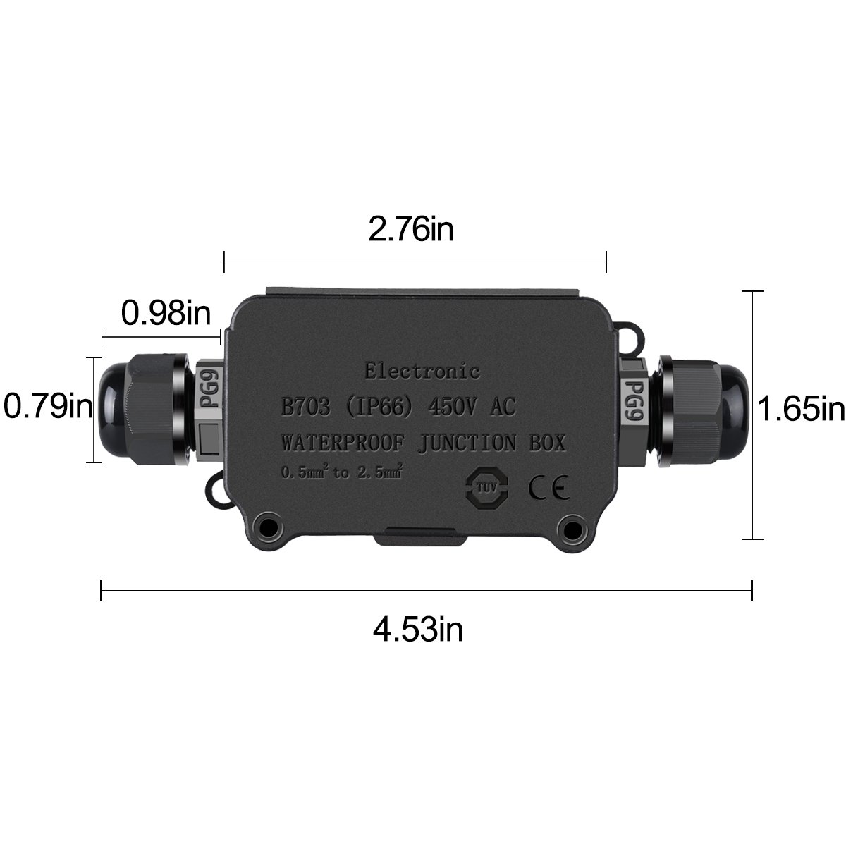 Coolwest Ip66 Junction Box Waterproof Outdoor 2 Cable Pg9 Black Stove Wiring Plastic Connector Gland Electrical