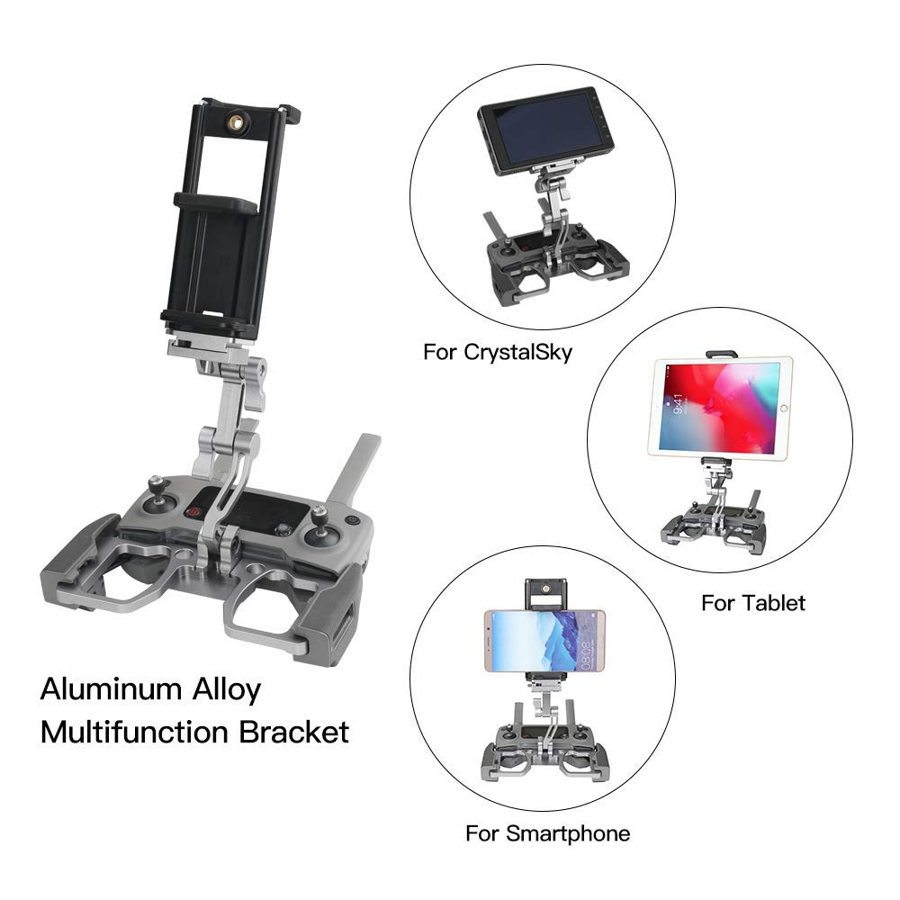 Tablet Holder Compatible with DJI Mavic 2/Spark/Mavic Air/Pro/Crystal Sky Remote Controller- RCstyle Aluminum-Alloy Adjustable Accessories Bracket Mount Extender with Neck Lanyard Strap for 4-12 Inch