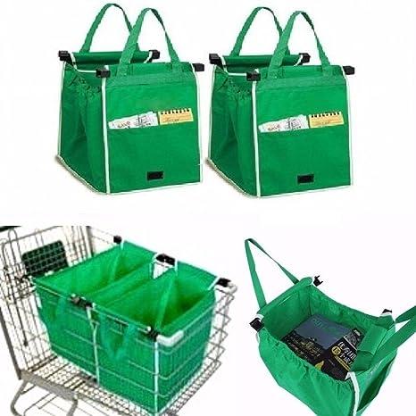 Bolsa saco Shopping Bag para carrito compra con ganchos para colgar supermercado Saco Bolsa rígida Carrito