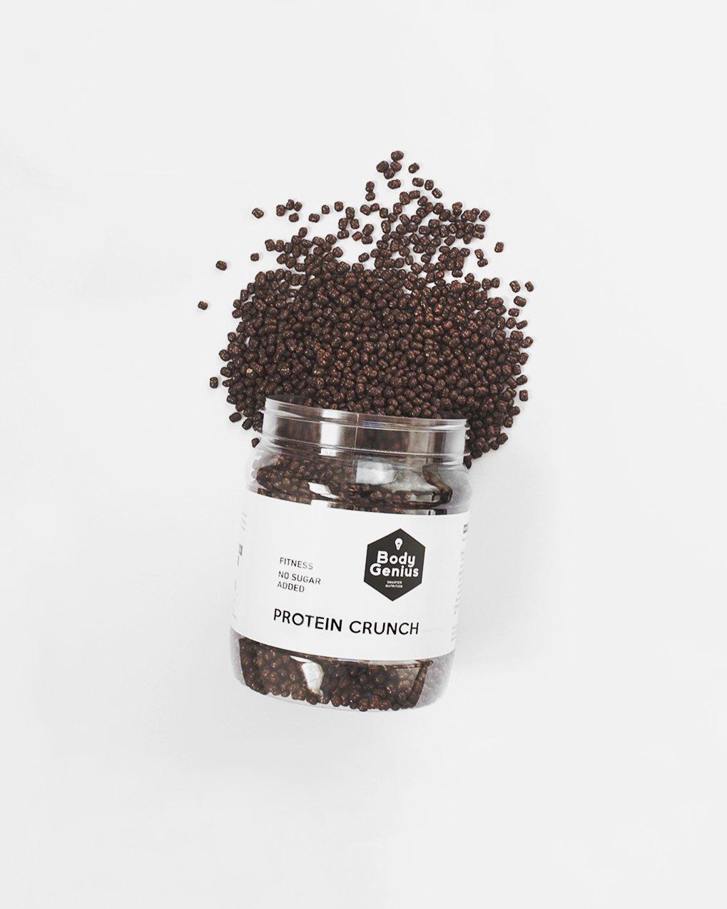 Body Genius PROTEIN CRUNCH (Chocolate Negro). Bolitas de proteína recubiertas de chocolate negro sin azúcar. 500 gr: Amazon.es: Alimentación y bebidas