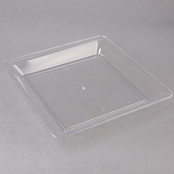 Juego de 3 bandejas cuadradas de plástico duro para servir bufés, bandeja para catering transparente