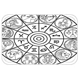 VROSELV Custom Door MatZodiac Decor Zodiac Clock with SignEcliptic Coordinate System Birth Chart of Solar Print Black White