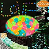 sexyrobot Glow in the Dark Garden Pebbles Colorful Decorative Stone Rocks for Outdoor Walkways Driveway Garden Path Fish Tank Aquarium 200pcs
