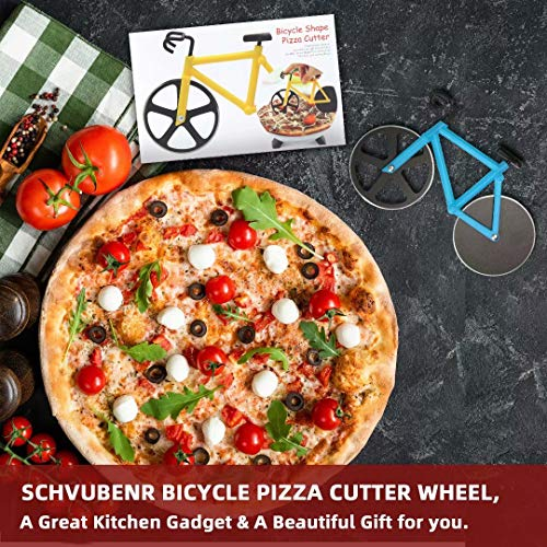 SCHVUBENR Bicycle Pizza Cutter Wheel - Funny Gifts for Cyclists Men - Bike Pizza Cutter - Cute Kitchen Gifts for Men - Stainless Steel Pizza Slicer - Cool Kitchen Gadgets(Blue)