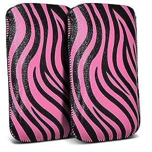 Samsung Galaxy Pocket Neo S55310 Protección Premium de Zebra PU tracción Piel Tab Slip Cord En caso de la cubierta de liberación rápida (Twin Pack) Rosa y Negro por Spyrox Pouch Pocket Skin
