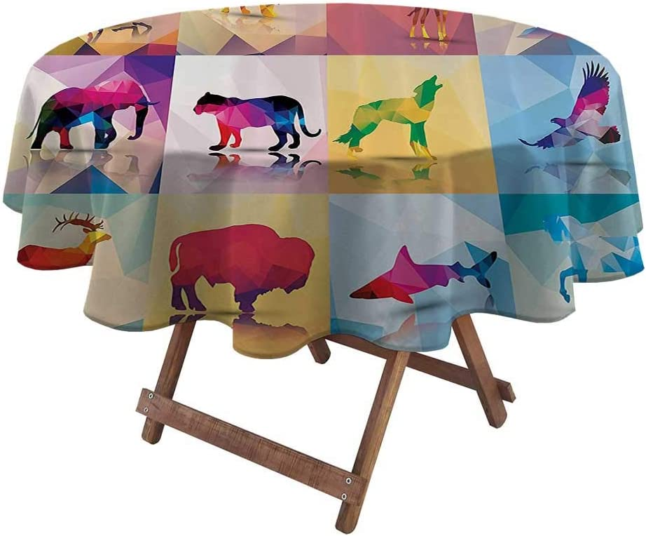 Round Tablecloth Apartment Decor Collection for Garden Patio Party Tabletop Collection of Geometric Polygonal Animals Horse Giraffe Mosaic Style Artistic Illustration 48
