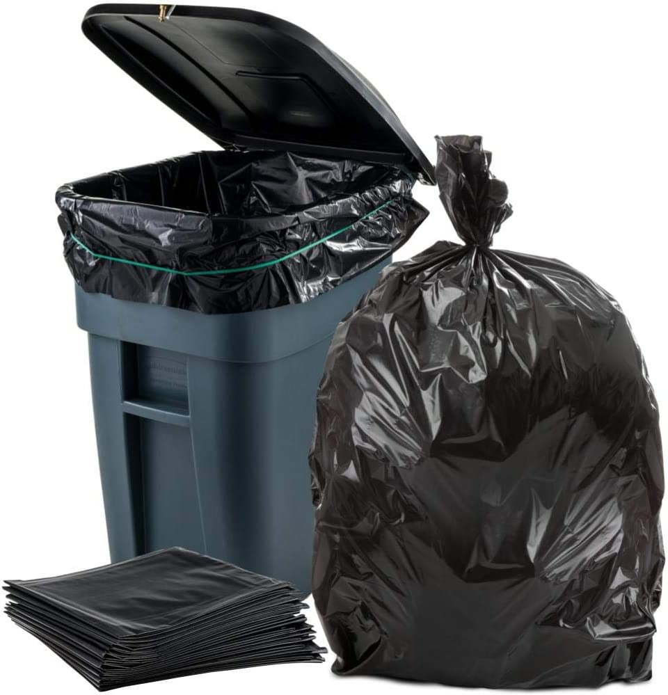"""Plasticplace 65 Gallon Trash Bags │ 1.5 Mil │ Black Heavy Duty Garbage Can Liners │ 50"""" x 48"""" (50 Count)"""