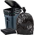 Plasticplace Bolsas de basura de 65 galones, 2,7 mil, revestimientos de bolsas de basura negras resistentes, 50 pulgadas...