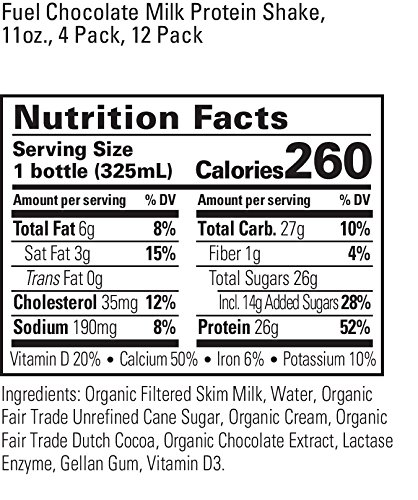 Organic Valley, Organic Fuel High Protein Milk Shake, 26G Protein, Chocolate, 11 ounces (Pack of 4)