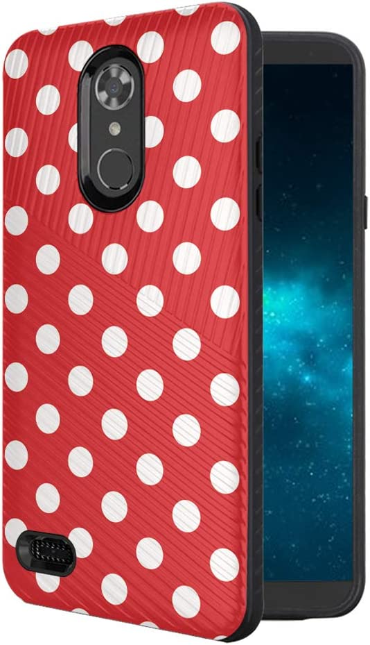 Moriko Case Compatible with LG Aristo 3, 3 Plus, Rebel 4 LTE [Armor Anti Slip Drop Protection Dust Shock Proof Shockproof Black Case Protector Cover] for LG Aristo (Polka Dot)