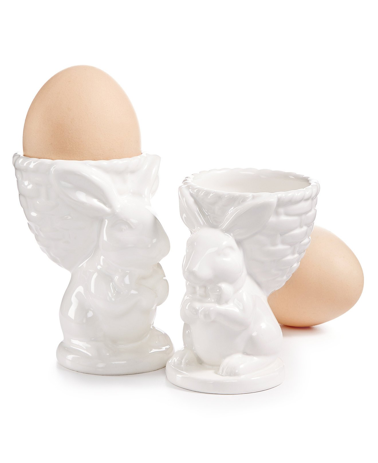 Martha Stewart Collection Bunny Egg Cups, White (Set of 2)