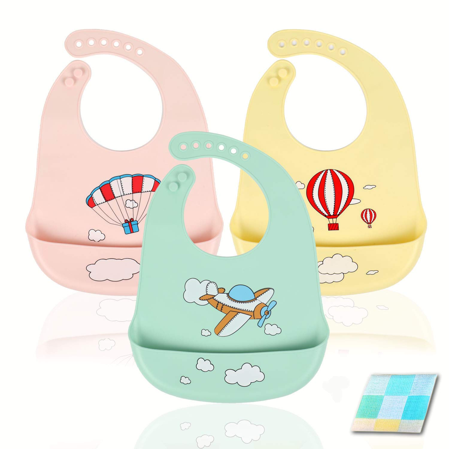 ANGNYA 3pcs Silicone Baby Bibs Waterproof Feeding Bibs with Wide Food Crumb Catcher Pocket Super Soft and Easily Wipe Clean Baby Bibs Set with Free Saliva Towel