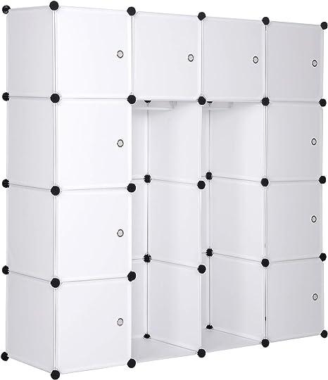 eSituro Armario Organizador Modular de DIY, Armario de Almacenamiento de Plástico, Armario Estantería con Puertas, 2 Barra para Colgar Ropa 148 x 35 x 145 cm Transparente SGR0041: Amazon.es: Hogar