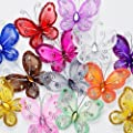 """Assorted Colors 2"""" Nylon Glitter Butterfly Wedding Party Table Scatter Scrapbook Craft Card Decoration Pack of 24"""