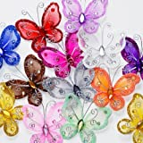 "Assorted Colors 2"" Nylon Glitter Butterfly Wedding Party Table Scatter Scrapbook Craft Card Decoration Pack of 24"