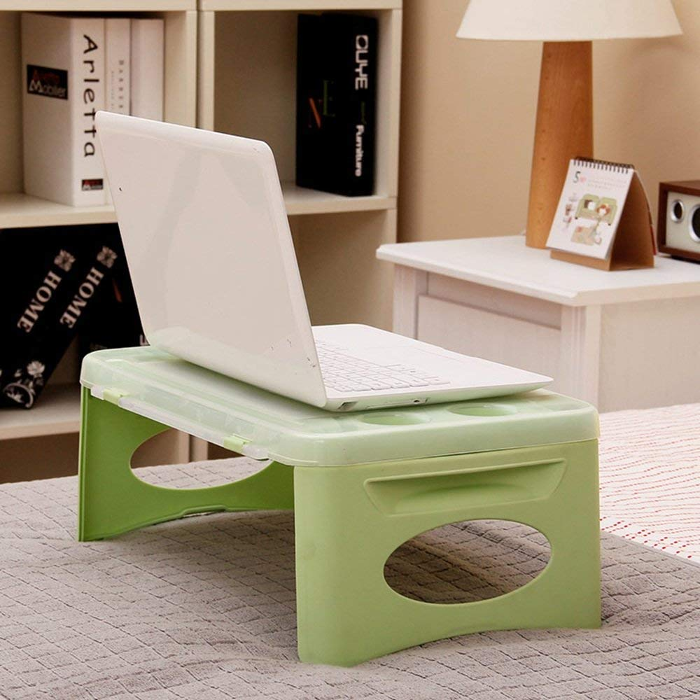 CWJ Table- Plastic Folding Storage Bed Computer Desk Automotive Use Small Table Learning Desk Save Space Dormitory Student Easy Lazy Bed Simple Home