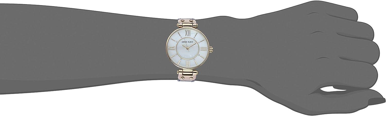 Anne Klein Women's Swarovski Crystal Accented Leather Strap Watch Navy Blue/Gold