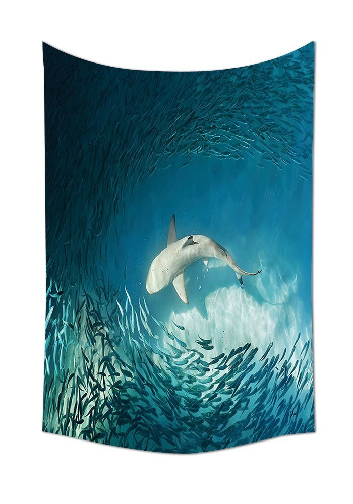 asddcdfdd Sea Animals Decor Tapestry Shark And Small Fish In Ocean Wilderness Waterscape Wildlife Nature Theme Picture Bedroom Living Room Dorm Decor Teal Beige