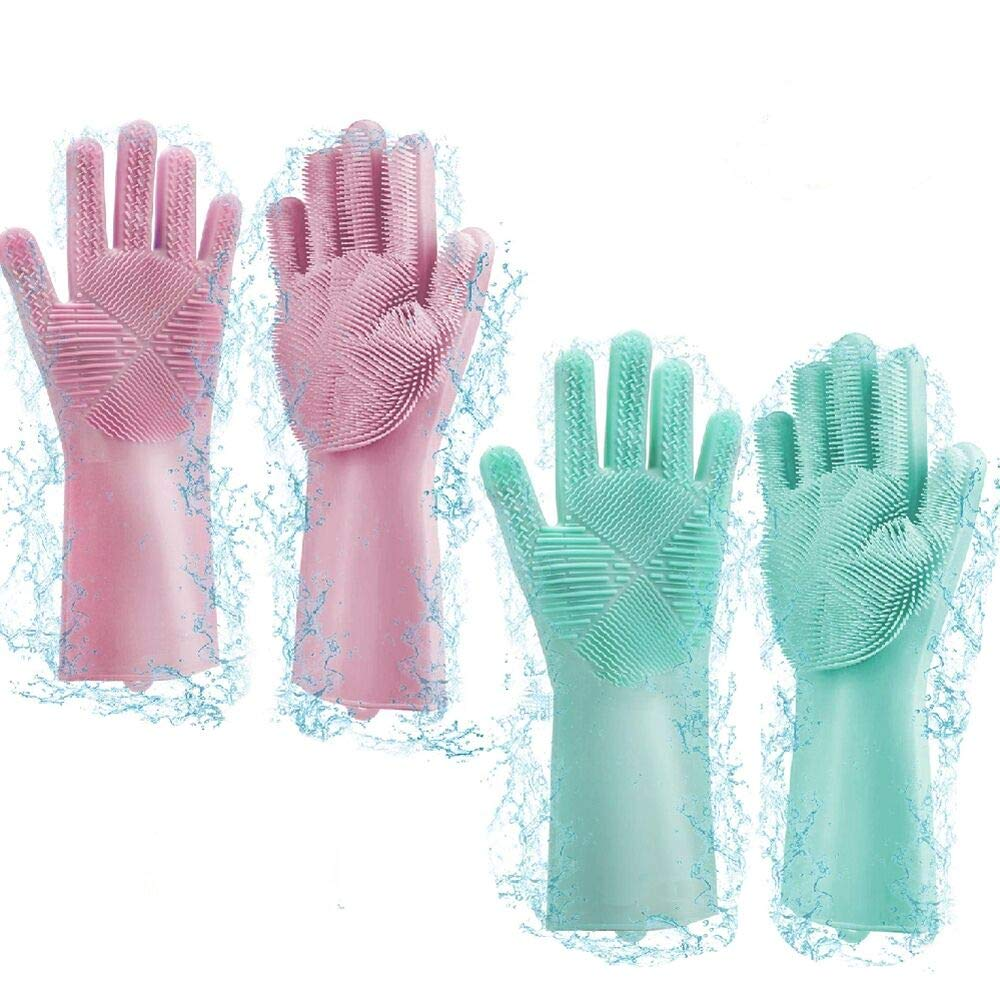 QHand Dish Washing Gloves,2 Pack (GreenΠnk) Kitchen Gloves,Silicone Rubber Dishwashing Gloves with Scrubber, Cleaning Gloves for Universal Size, Plate Fruit Bathroom Cleaning and Pet Care