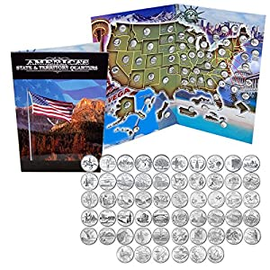 Amazoncom Complete Uncirculated State Quarter Set - First state quarters of the us collectors map