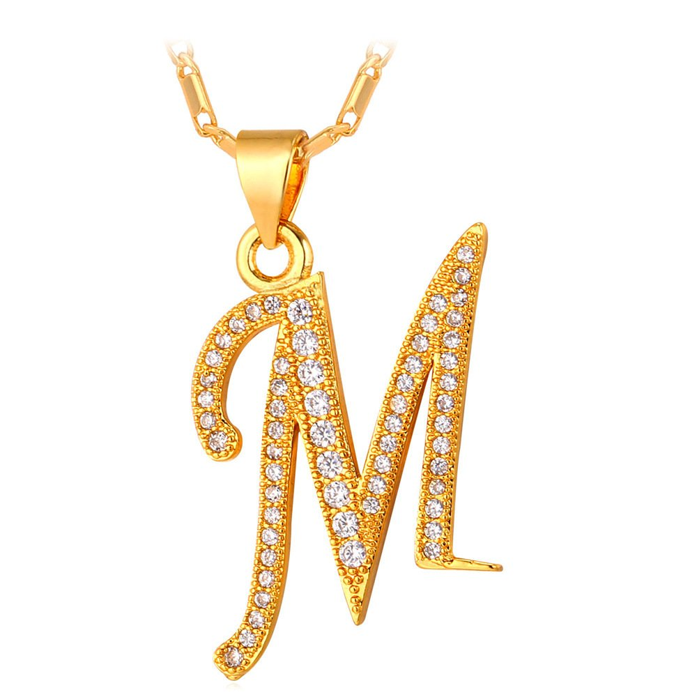 U7 Letter Necklace 18K Gold Plated Cubic Zirconia Iced Out Pendant Monogram Style Initial Necklace, Alphabet M