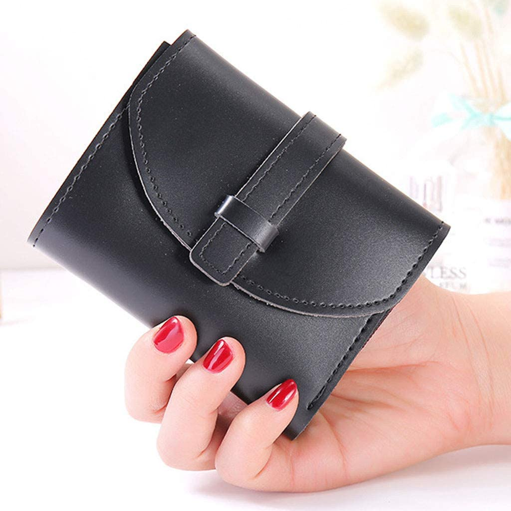 Yomiafy Ladies Retro Candy Color Drawstring Short Wallet Small Compact Leather Purse Credit Card Holder
