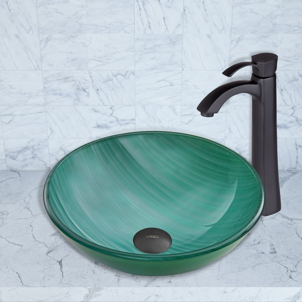 VIGO Whispering Wind Glass Vessel Bathroom Sink and Otis Vessel Faucet with Pop Up, Matte Black