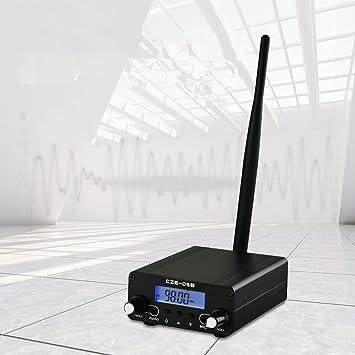 InLoveArts Transmisor FM 0.1/0.5W Digital LCD PLL Radiodifusión estéreo inalámbrica con Rango de Antena 76~108MHz Estación estéreo de Radio para la ...