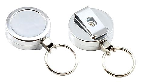 bda7b3c350 Customcard Ltd Portachiavi avvolgibile, cromato, resistente, con clip Pack  x 1
