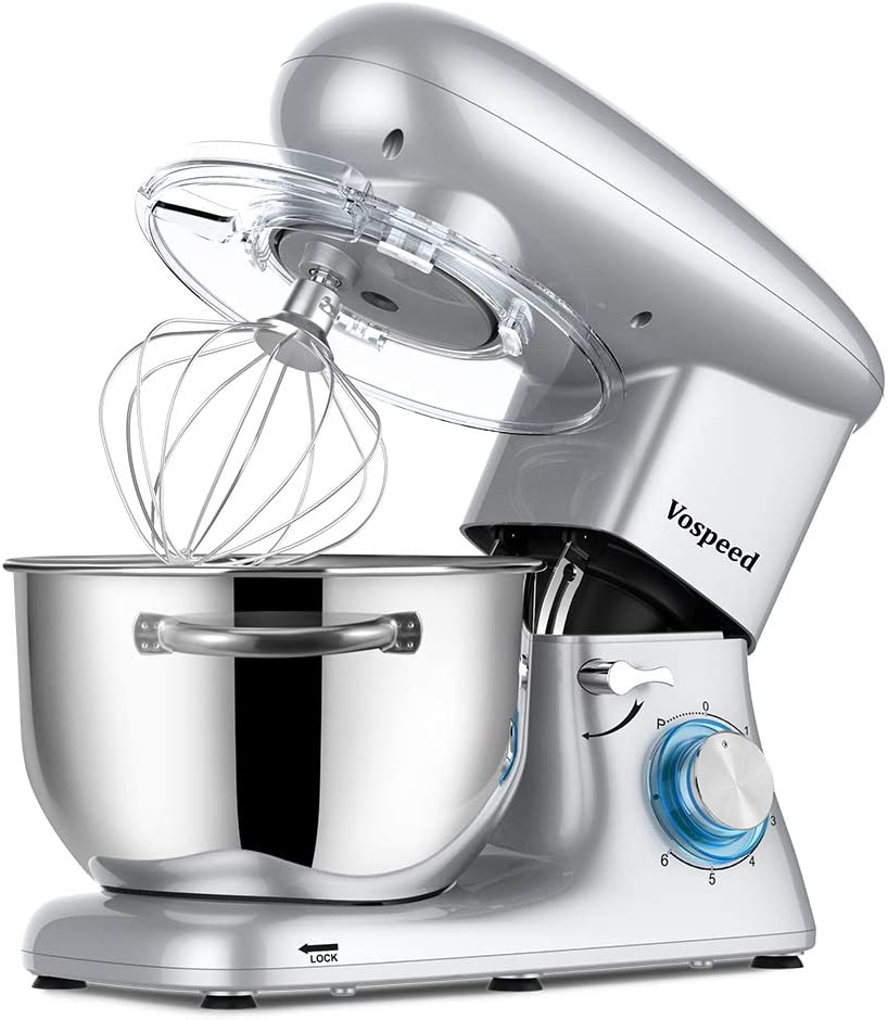Vospeed Stand Mixer, 6 QT 660W 6-Speed Tilt-Head Electric cake mixer with Stainless Steel Bowl, Beater, Hook, Whisk, Dishwasher Safe (Silver)