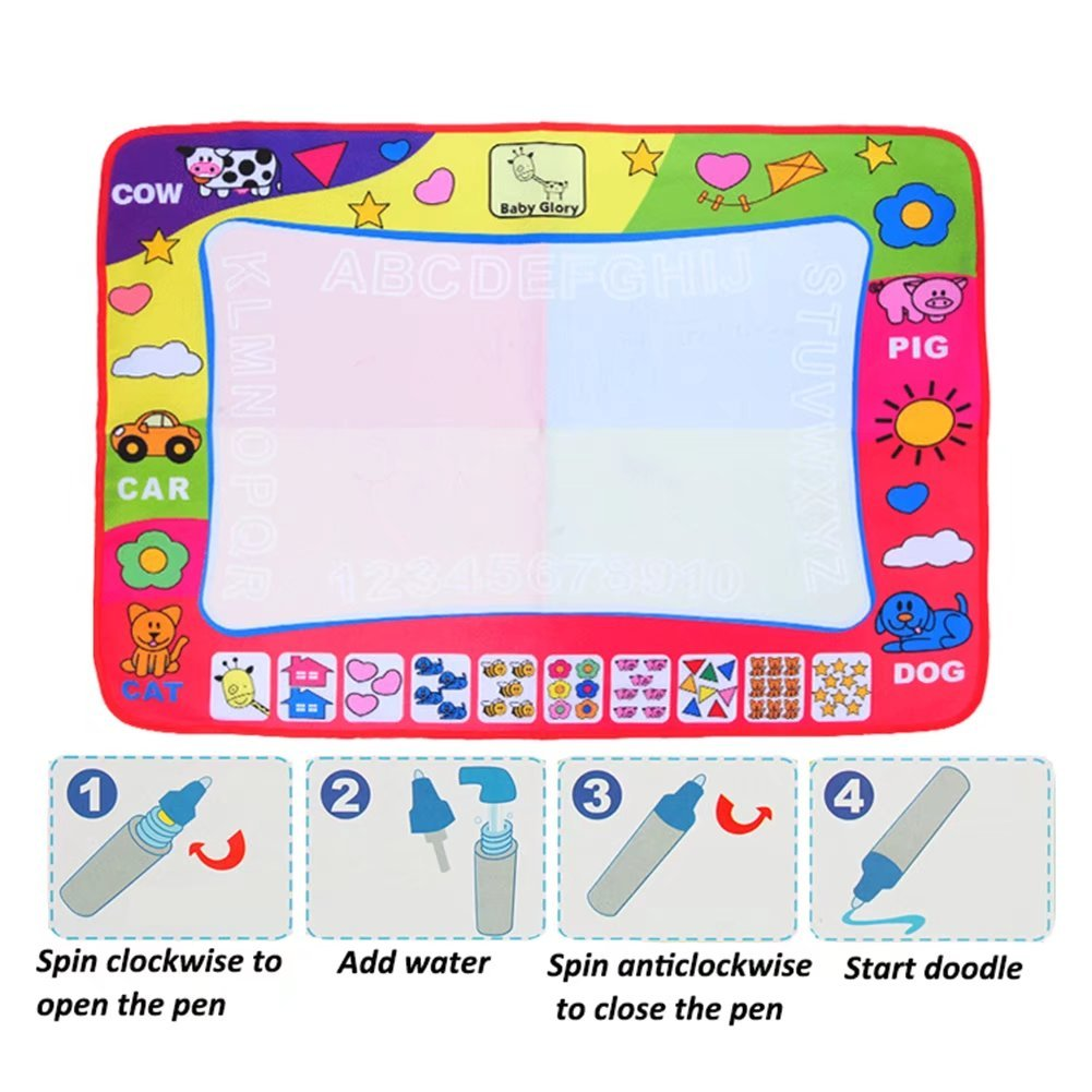Large Aqua Doodle Mat Magic Water Drawing Painting Writing Mat Pad Board 2 Pen 4 Color Develop Intelligence Learning Toy Gift for Boys Girls Toddlers Kids Children 31.5 x 23.6 Inches C