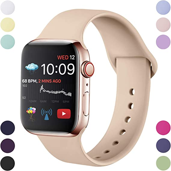 Image of Hamily Correa Compatible con Apple Watch 38mm 42mm 40mm 44mm, Correa de Repuesto de Silicona Suave para Apple Watch Series 5/4/3/2/1, S/M, M/L