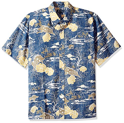 Reyn Spooner Men's Spooner Kloth Classic Fit Hawaiian Shirt, Year of The Boar - Medieval Blue, XS