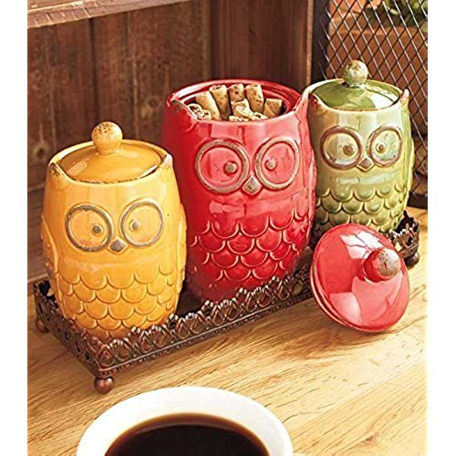 Bon 4 Piece Whimsical Ceramic Owl Canister U0026 Metal Tray Kitchen Decor
