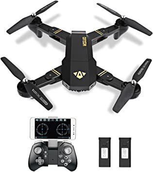 kingtoys Plegable Drone, XS809W RC Quadcopter 2.4GHz 4CH Gyro App FPV Quadcopter Control y Altitud Holding, Modo Headless, 3D Flip, HD 2MP Cámaras, Smartphone Sistema de Control Remoto (2PCS batería): Amazon.es: Juguetes
