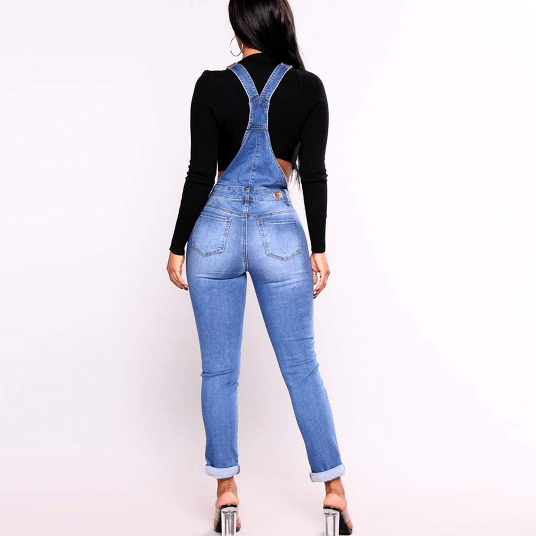 Women Basic Classic Pencil Blue Denim Pants Ripped Hole Stretch Rompers Jumpsuit Jeans