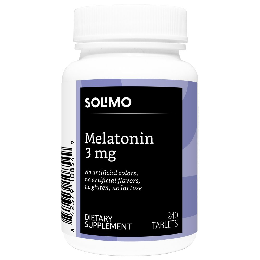 Amazon Brand - Solimo Melatonin 3mg, 240 Tablets, Eight Month Supply