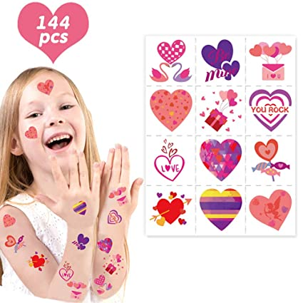 Lot of 12 colorful funky heart temporary children/'s tattoos party favor bags