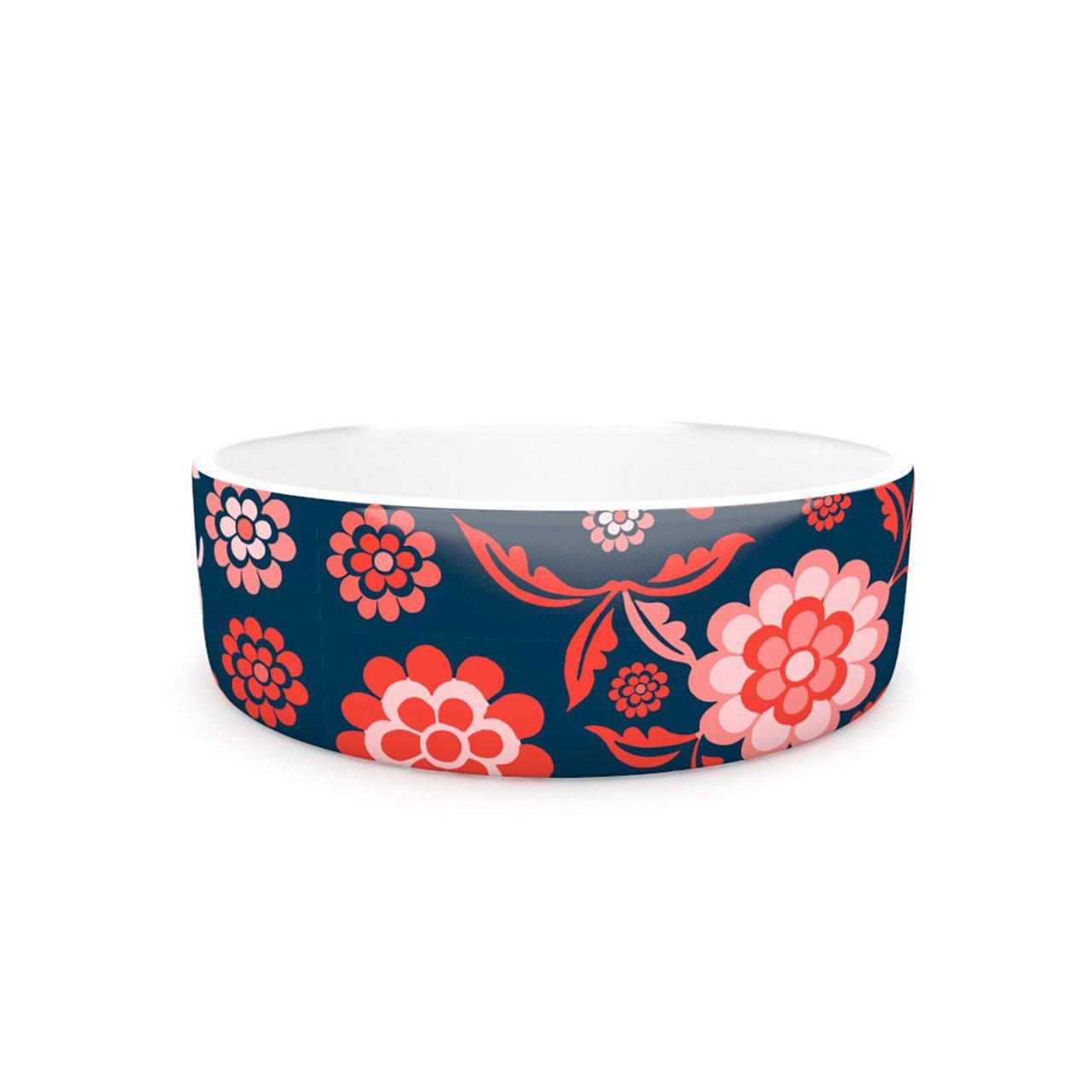 Kess InHouse Nicole Ketchum Cherry Floral Midnight  Pet Bowl, 7-Inch