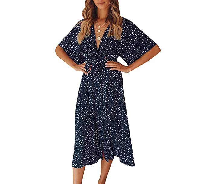 Women's Wrap Midi Dress - Fashion V Neck Boho Polka Dot Bow Tie Front Short Sleeve Swing Casual Summer Beach Party Wedding Dress (X-Large, Navy Blue)