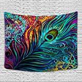 Sunm boutique Colorful Peacock Feather Tapestry, Abstract Art Wall Tapestry Wall Hanging Psychedelic Tapestries for Wall Decoration (Peacock Feather, 59.1'' x 59.1'')