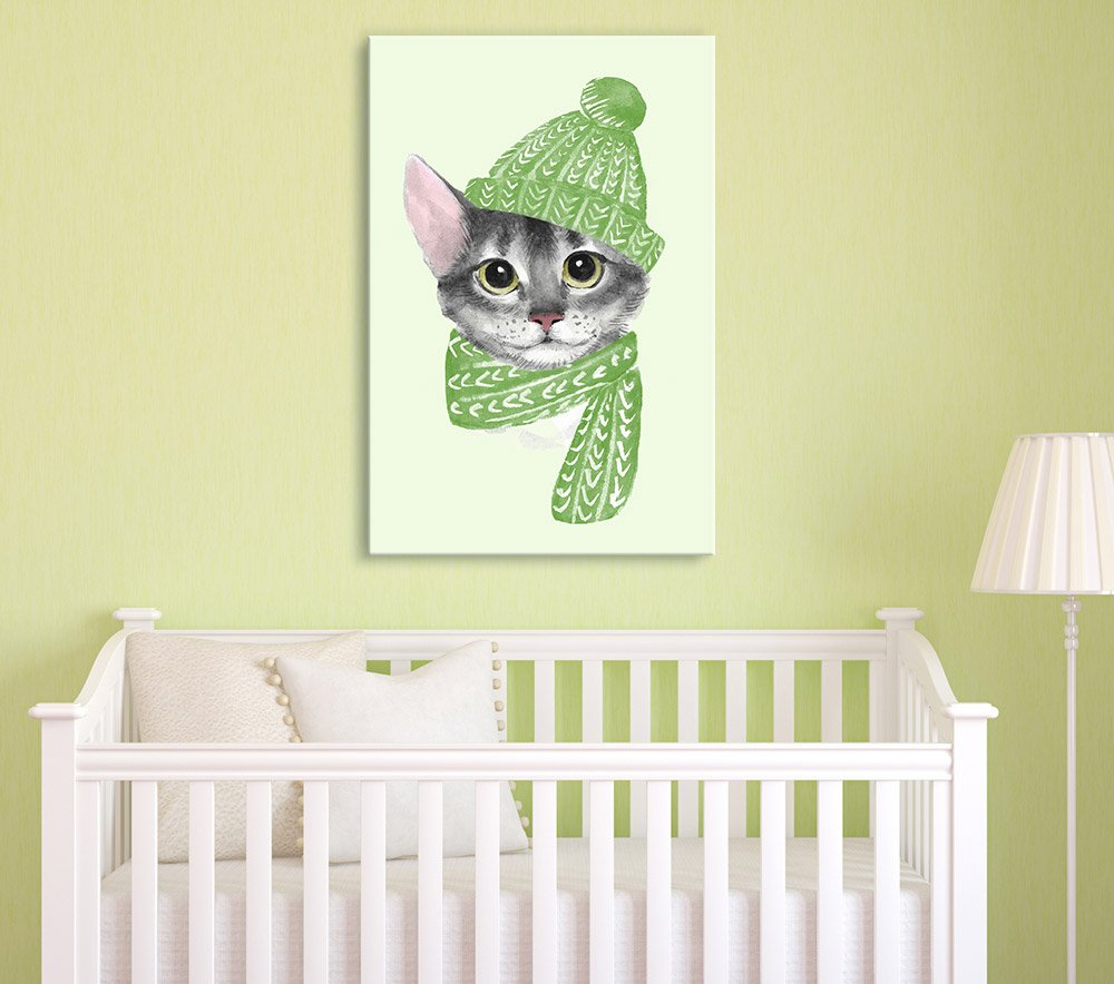 Watercolor Style Cat with a Hat and a Scarf - Canvas Art | Wall26