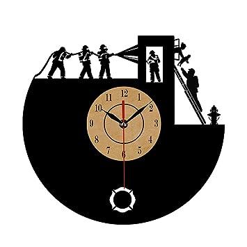 """Shinestore - Reloj de pared con diseño de bomberos y texto en inglés """"New"""