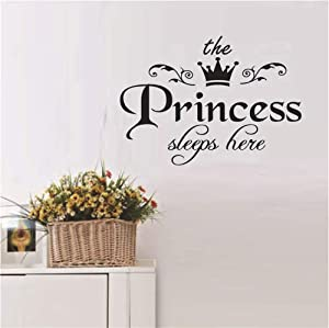 Princess sleeps here Quotes Wall Stickers Lettering Sticker Wall Vinyl Sticker Bedroom Wall Decal Mural Removable