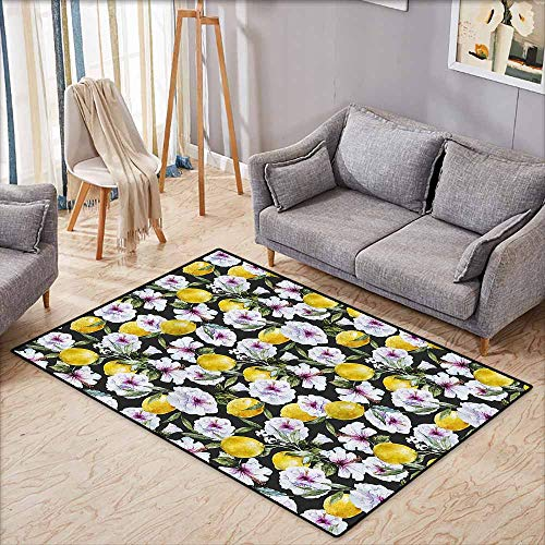 Anti-Static Rug Floral Tropical Hibiscus Blossoms Petals with Lemons Nature Harvest Spring Essence Image Multicolor Breathability W7'8 xL4'9