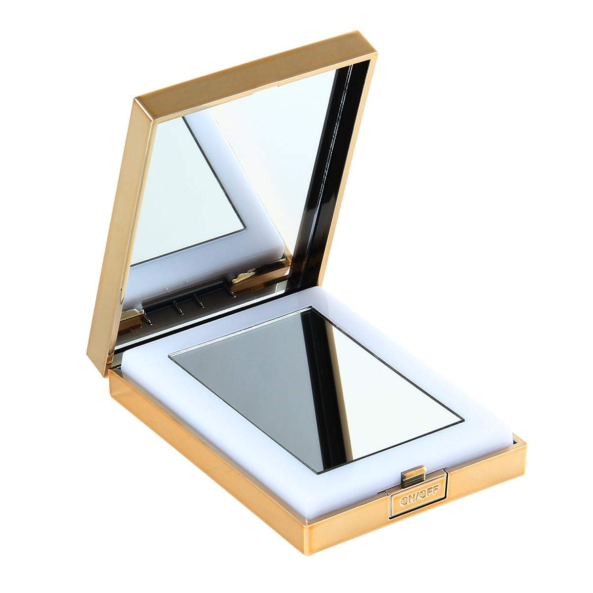 LED Lighted Travel Makeup Mirror, Small Handheld Mirror 1x/10x Magnifying Mirror Portable Travel Makeup Mirror Lighted Magnified Mirror Magnifying Illuminated Mirror Folding(Black Gold) FOONEE