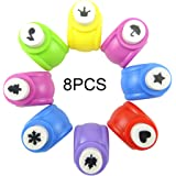 Honbay 8PCS Different Shapes Mini Paper Craft Punch Shaper Punch Mini Handmade Hole Puncher Kids Craft DIY Handmade Hole Puncher for DIY Scrapbook, Greeting Cards Making and Kids Artwork