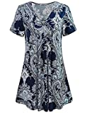 MOQIVGI Summer Tunics for Women, Juniors Short Sleeve Comfy Modest Paisley Patterned Tops Fashionable Business Casual Shirts Long Blouses for Women to Wear with Leggings Multicoloured Blue X-Large