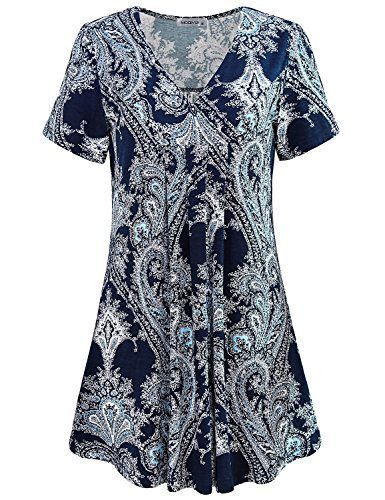 MOQIVGI Floral Blouse, Ladies V Neck Short Sleeve Tunic Vintage Printed Modern Popular Elegant Office Wear Shirt Cute A Line Draped Swing Tops 2018 Summer Outfits for Women Multicoloured Blue Medium