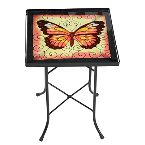 Golden Butterfly Patio Accent Table, Pink
